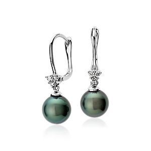 Tahitian Cultured Pearl and Diamond Cluster Earrings in 14k White Gold (8mm)