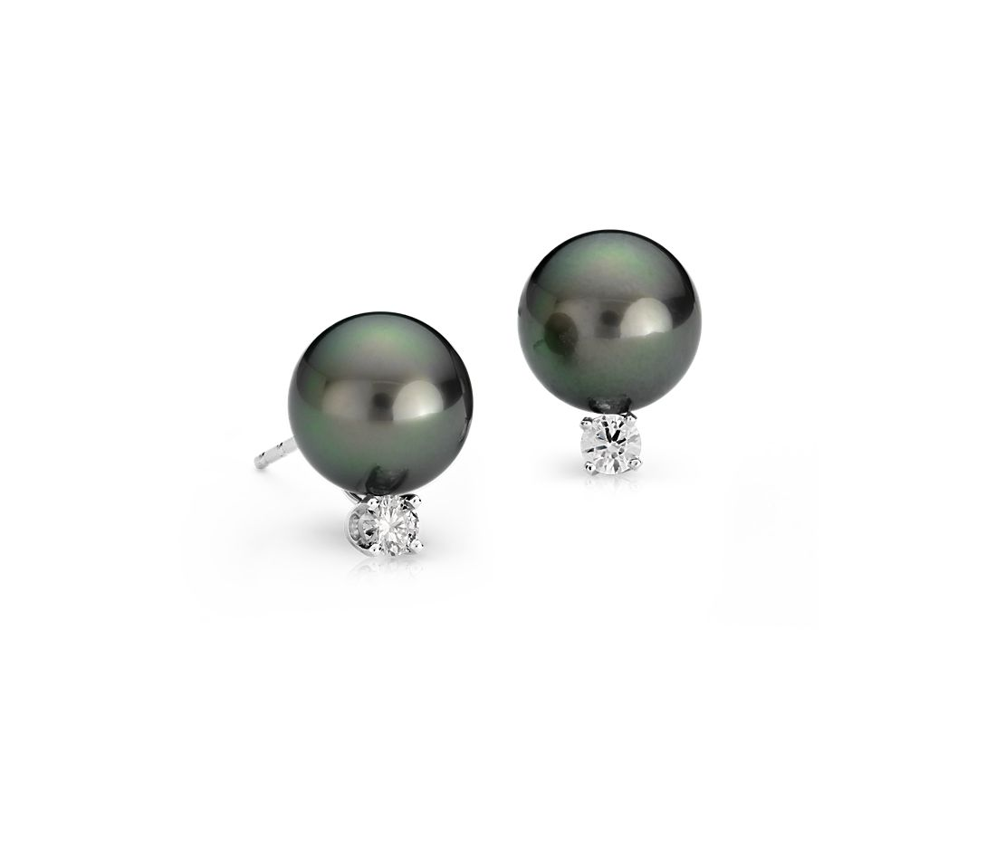 Tahitian Cultured Pearl and Diamond Earrings in 18k White Gold (9.0-9.5mm)