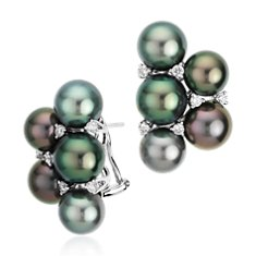 Tahitian Cultured Pearl Half Cluster Diamond Earrings in 18k White Gold (0.40 ct. tw.)
