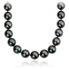 Tahitian Cultured Pearl Strand Necklace in 14k White Gold (12-12.8mm)