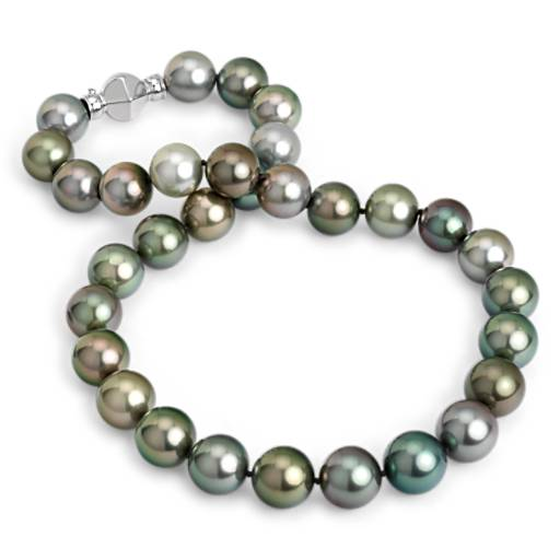 NEW Tahitian Multi-color Cultured Pearl Strand Necklace with 18k White Gold (13-14.2mm)