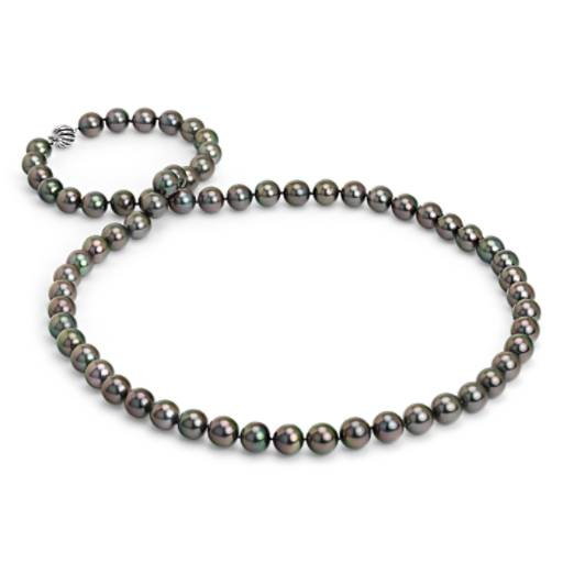 Collier de perles de culture de Tahiti avec fermoir en boîte en or blanc 18 carats - 91,44 cm de long (12-13 mm)