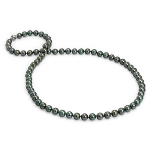 "NEW Tahitian Cultured Pearl Strand Necklace with Cage Clasp in 18k White Gold  - 36"" Long (11 mm)"