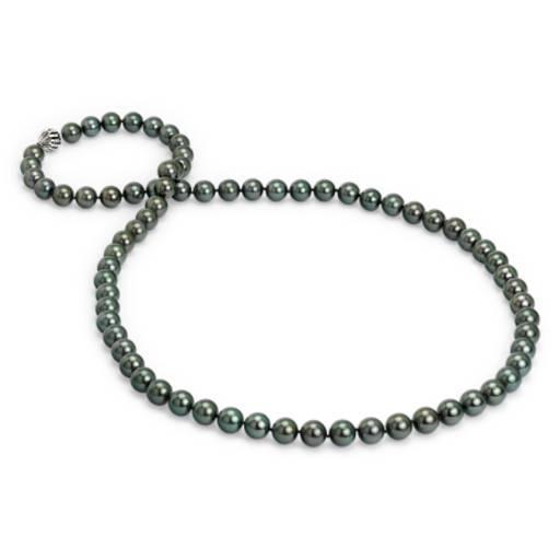 Collar de perlas cultivadas de Tahití con broche de cajaNuevooro blanco de 18k 91,4 cm de largo en (11 mm)