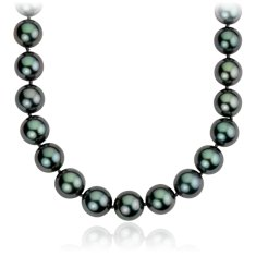 Tahitian Cultured Pearl Strand Necklace with 18k White Gold (10-11.9mm) 38""
