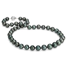 Tahitian Cultured Pearl Strand Necklace in 18k White Gold (8-10.5mm)