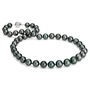 Tahitian Cultured Pearl Strand Necklace in 18k White Gold (8.0-10.5mm)
