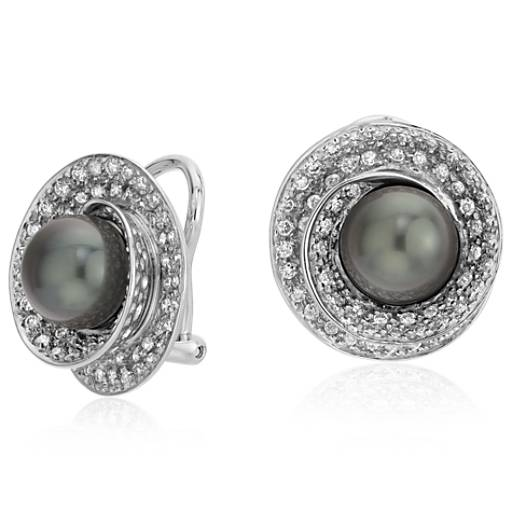 Tahitian Cultured Pearl and Diamond Halo Earrings in 18k White Gold (8-9mm)