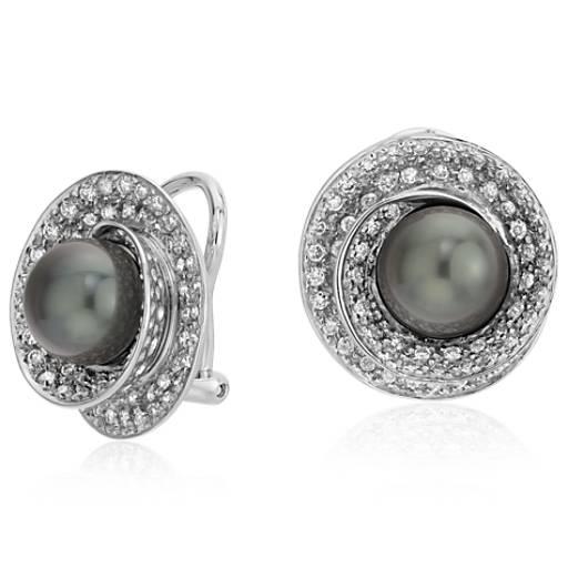 Aretes de diamante y perla cultivada de Tahití en oro blanco de 18k (8-9mm)