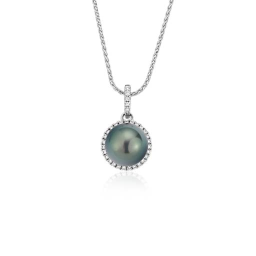 Tahitian Cultured Pearl and Diamond Halo Pendant in 14k White Gold