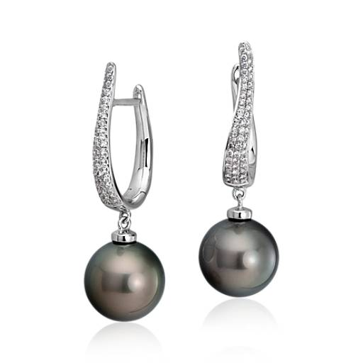 Tahitian Cultured Pearl and Diamond Dangle Earrings in 18k White Gold (12.5-13mm)
