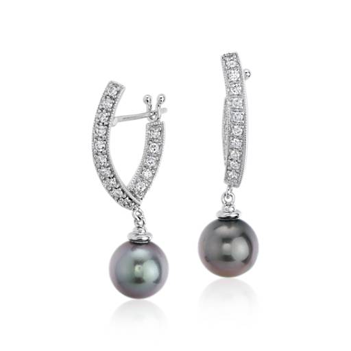 NEW Tahitian Cultured Pearl and Diamond Dangle Earrings in 14k White Gold