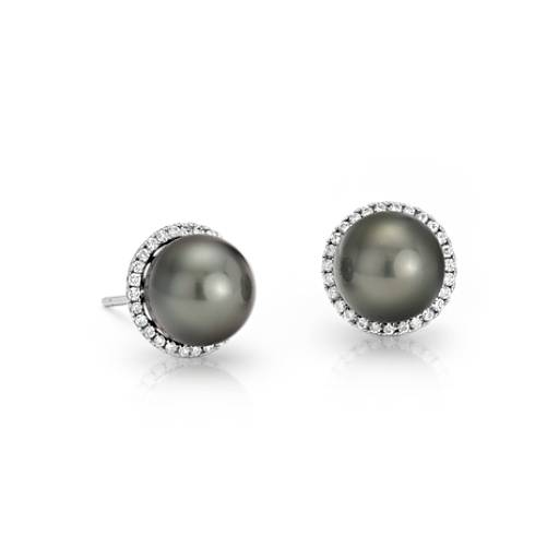 Tahitian Cultured Pearl and Diamond Halo Stud Earrings in 14k White Gold (8.0-9.0mm)