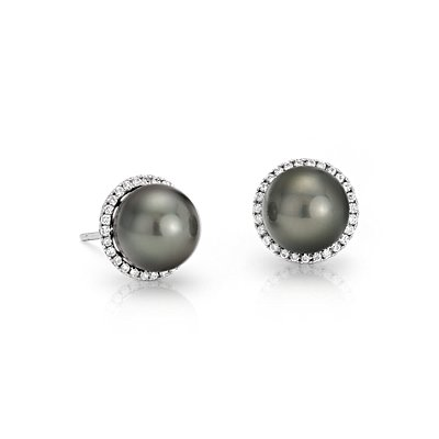 Puces d'oreilles diamants et perle de culture de Tahiti en or blanc 14 carats (8,0-9,0 mm)