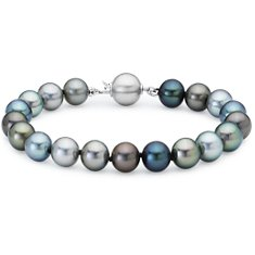 Bracelet de perles de culture de Tahiti multicolores avec Or blanc 18 ct (8-9 mm)