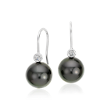 Tahitian Cultured Pearl and Diamond Earrings in 18k White Gold (9.5mm)