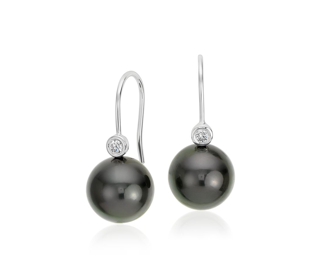 Tahitian Cultured Pearl and Diamond Earrings in 18k White Gold