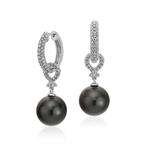 Tahitian Cultured Pearl Diamond Hoop Earrings in 18k White Gold (11-11.5mm)