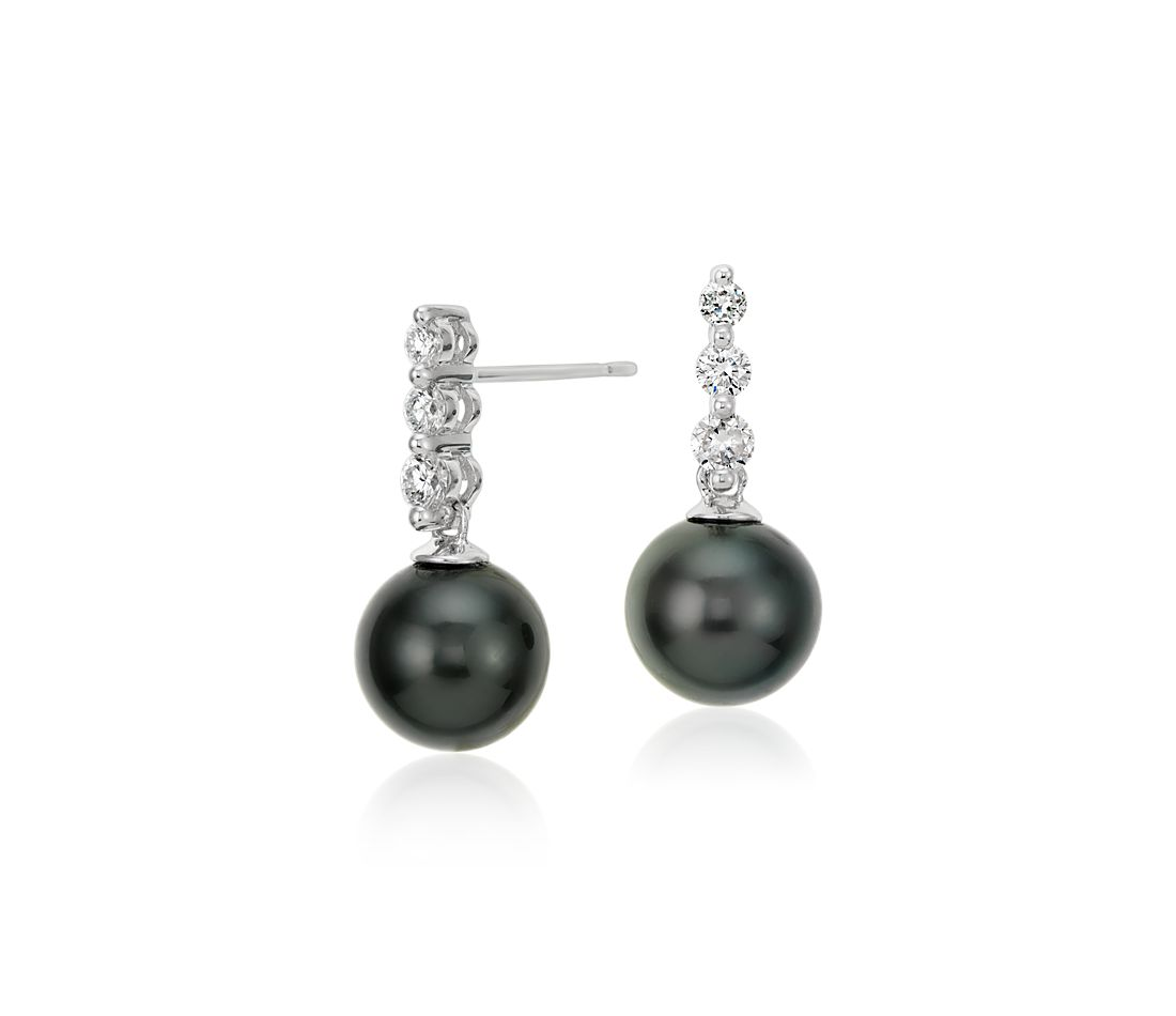 Tahitian Cultured Pearl and Diamond Drop Earrings in 18k White Gold (8mm)