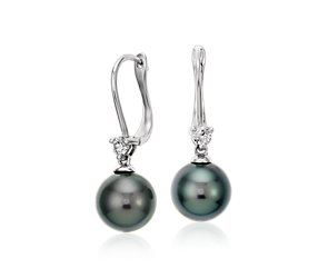 Tahitian Cultured Pearl and Diamond Drop Earrings in 18k White Gold (9-9.5mm)
