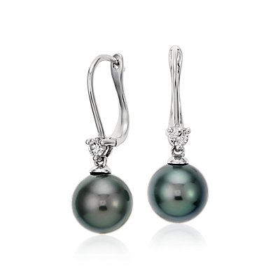 Tahitian Cultured Pearl and Diamond Drop Earrings in 18k White Gold (9.0-9.5mm)