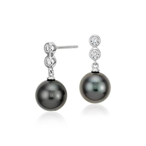 Tahitian Cultured Pearl Diamond Drop Earrings in 18k White Gold