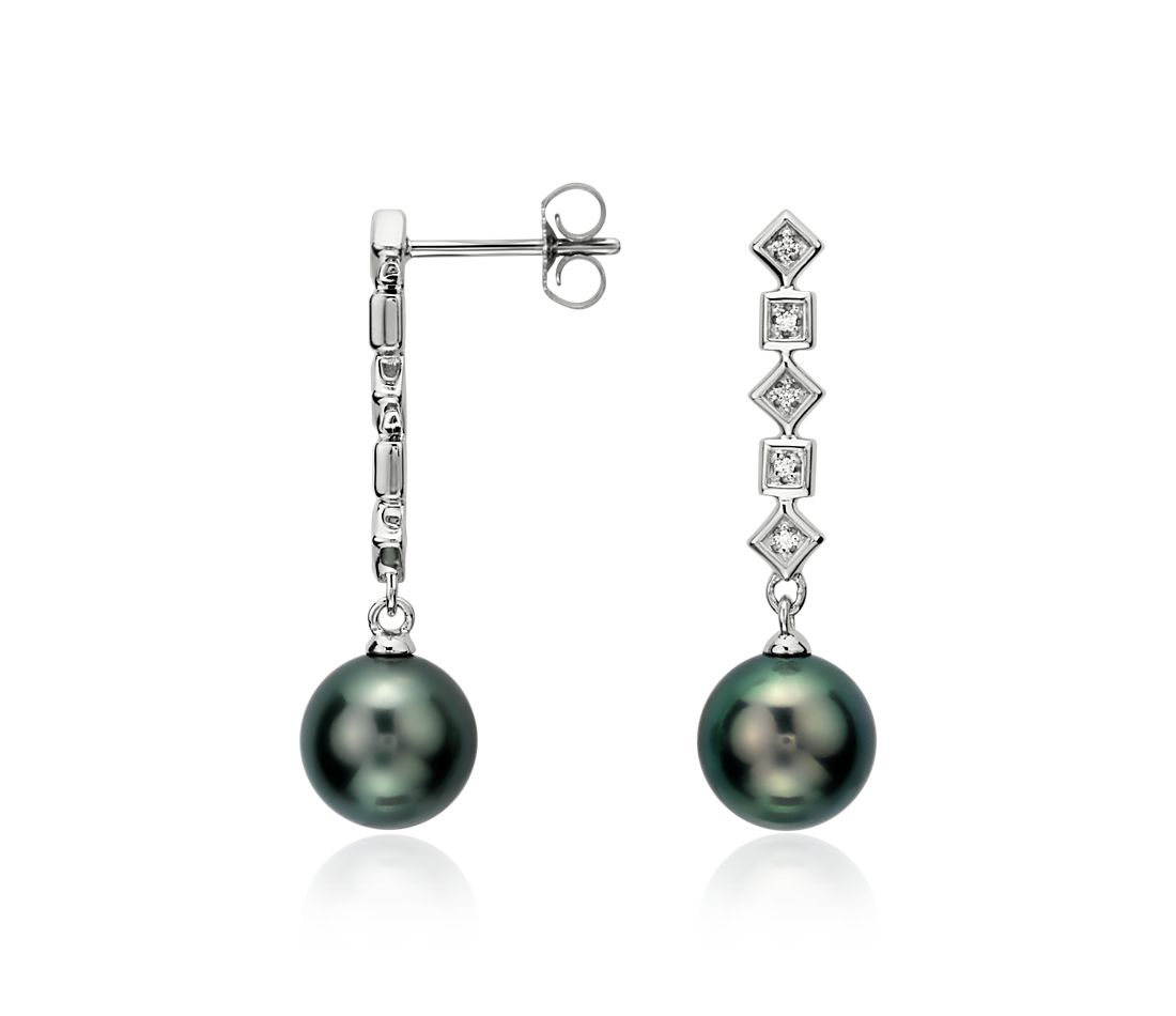 Tahitian Cultured Pearl and Diamond Earrings in 14k White Gold