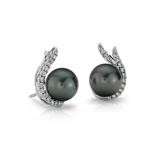 Tahitian Cultured Pearl and Diamond Stud Earrings in 18k White Gold (9mm)