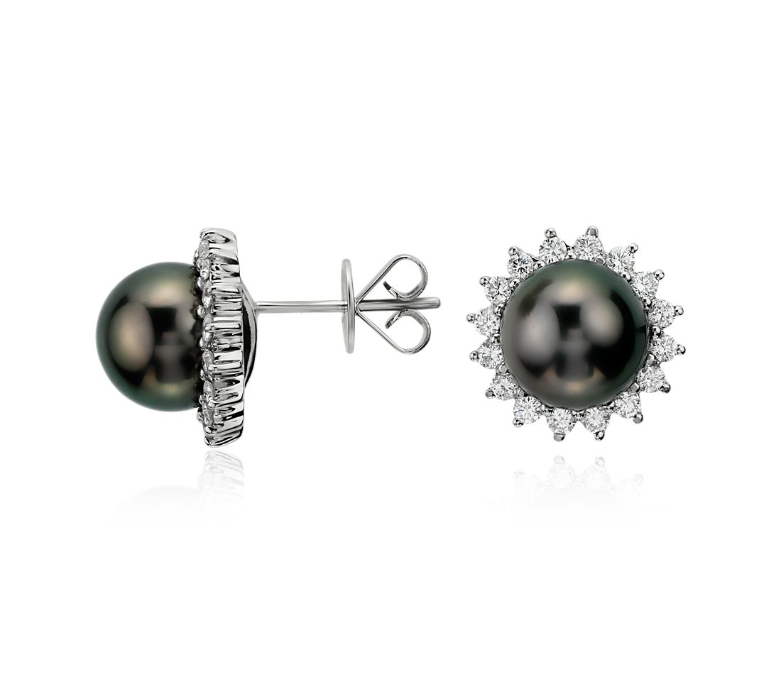 Tahitian Pearl and Diamond Halo Earrings in 18k White Gold (5/8 ct. tw.)