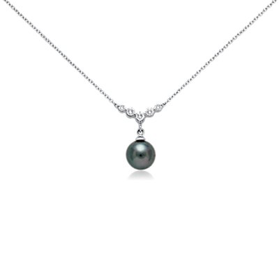 Collier diamant et perle de culture de Tahiti en or blanc 18 carats (8 mm)