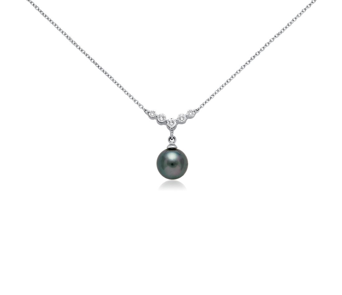 Tahitian Cultured Pearl and Diamond Necklace in 18k White Gold