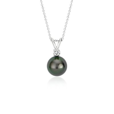Tahitian Cultured Pearl and Diamond Pendant in 18k White Gold (9-9.5mm)