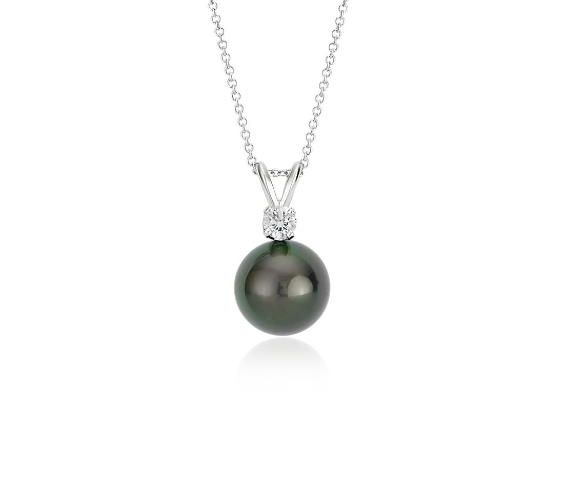 Tahitian Cultured Pearl and Diamond Pendant in 18k White Gold (10-10.5mm)