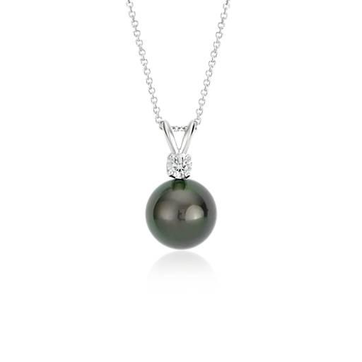 Colgante de diamantes y perlas cultivadas de Tahití en oro blanco de 18 k (10-10,5mm)