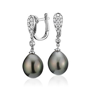 NEW Tahitian Cultured Pearl and Diamond Drop Earrings in 18k White Gold (11.3-14.1mm)