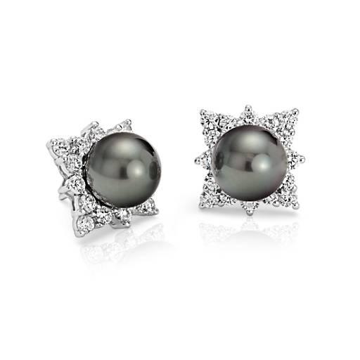 Aretes de diamante y perla cultivada de Tahití en oro blanco de 18k  (10.5-10.6mm)