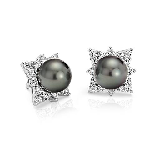 Pendants d'oreilles diamants et perle de culture de Tahiti en or blanc 18carats (10,5-10,6 mm)