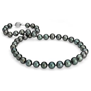 Tahitian Cultured Pearl Strand Necklace in 18k White Gold  (9.0-11.5mm)