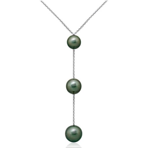 Tahitian Cultured Pearl Triple Drop Necklace in 18k White Gold