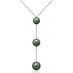 Tahitian Cultured Pearl Triple Drop Necklace in 18k White Gold (8-10mm)