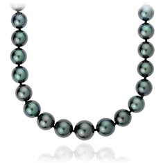 Graduated Tahitian Cultured Pearl Strand with 18k White Gold (9.0-11.5mm) 18""