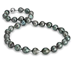 Baroque Tahitian Cultured Pearl Necklace with 18k White Gold