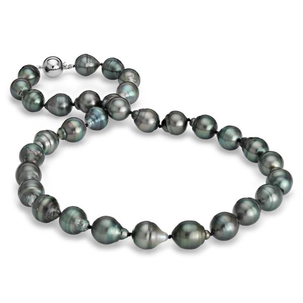 Collar de perlas barrocas cultivadas de Tahití con oro blanco de 18k (10-11mm)