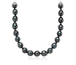 Baroque Tahitian Cultured Pearl Necklace with 18k White Gold (10-11mm)