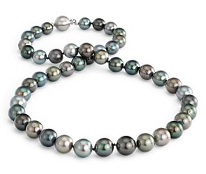 Multi-Color Tahitian Cultured Pearl Necklace with 18k White Gold (8-10.5mm)