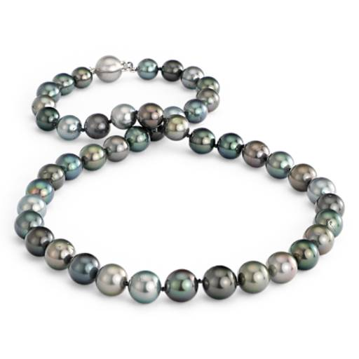 Multi-Colour Tahitian Cultured Pearl Necklace in 18k White Gold (8.0-10.5mm)
