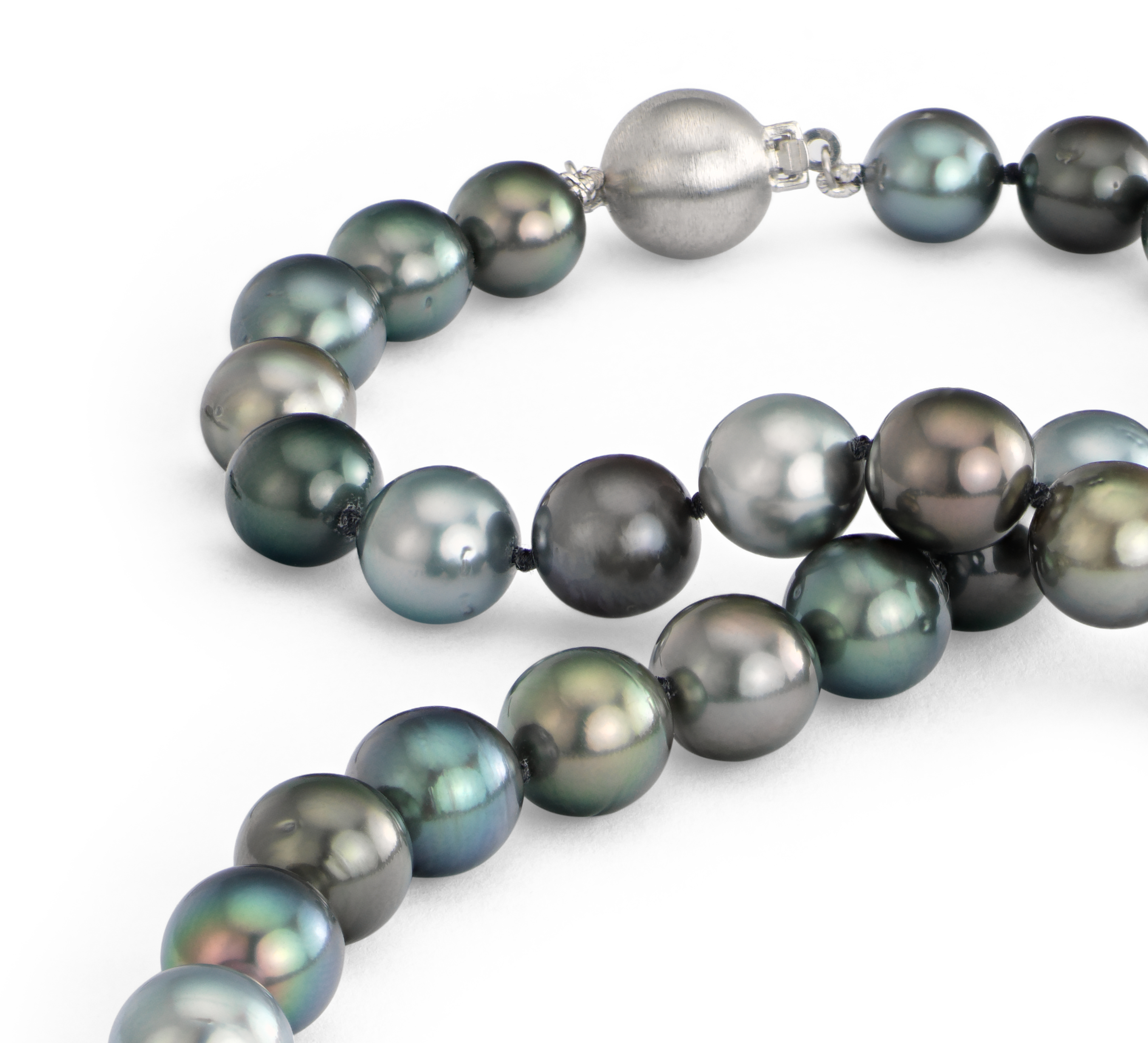 Multi-Colour Tahitian Cultured Pearl Necklace in 18k White Gold