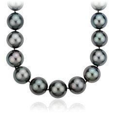 Tahitian Cultured Pearl Strand Necklace with Diamond Clasp in 18k White Gold (15-16.7mm) 3 ct. tw.