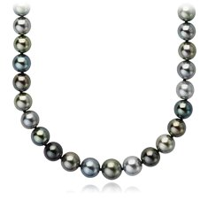Multi-Colour Tahitian Cultured Pearl Necklace with 18k White Gold (8-10.5mm)
