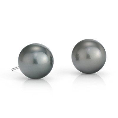 Tahitian Cultured Pearl Stud Earrings in 18k White Gold (12-13mm)